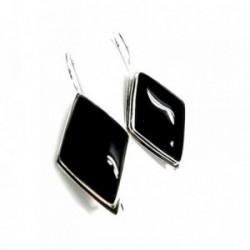 Pendientes plata ley 925m liso piedra negra rombo [AA8913]