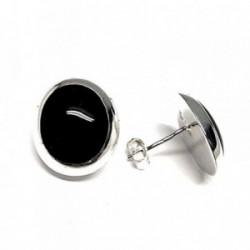 Pendientes plata ley 925m liso 12mm. piedra negra [AA8942]
