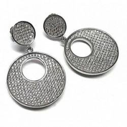 Pendientes plata ley 925m 15mm. circonita microengaste [AA8961]