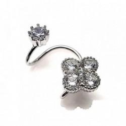 Pendientes plata ley 925m  liso flor falso piercing [AA9014]