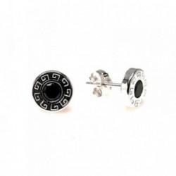 Pendiente plata ley 925m liso 8mm. greca circonita negra [AA9221]