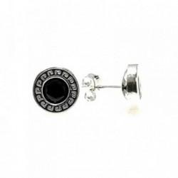 Pendiente plata ley 925m liso 9mm. greca circonita negra [AA9222]