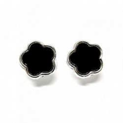 Pendiente plata ley 925m liso 12mm. flor negro [AA9232]