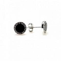 Pendiente plata ley 925m 8mm. piedra negra filo circonita [AA9238]