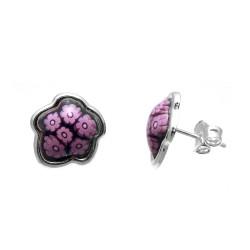 Pendientes plata Ley 925m. murano rosa 12mm. margaritas [AA9227]