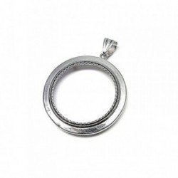 Fornitura plata Ley 925m cerco colgante moneda 40mm. [AB0810]