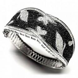 Pulsera brazalete plata Ley 925m piedras negro circonita [AB0916]