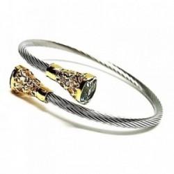 Pulsera brazalete plata Ley 925m acero chapada circonita [AB0932]