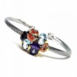 Pulsera brazalete plata Ley 925m acero chapada piedras color [AB0933]