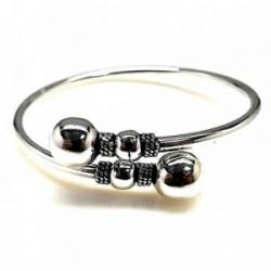 Pulsera brazalete plata Ley 925m bolas motivos oxidados [AB0935]