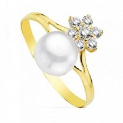 Sortija oro 9k perla flor circonitas centro niña primera comunión bandas laterales caladas lisas
