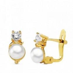 Pendientes oro 18k perla circonita redonda 8mm. [AB1778]