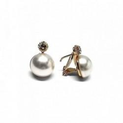 Pendientes plata Ley 925m chapado oro perla japonesa 14mm. [AB1166]