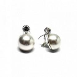 Pendientes plata Ley 925m perla japonesa 16mm. [AB1167]