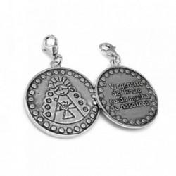 Colgante charm plata Ley 925m porfis Virgen Rocío oxidado [AB1192]