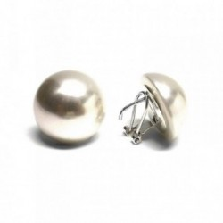 Pendientes plata Ley 925m mujer media bola perla sintética 22mm. cierre omega