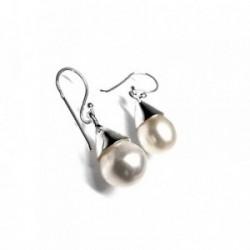 Pendientes plata Ley 925m largos perla cultivada [AB1235]