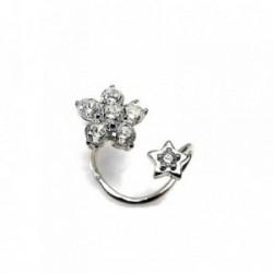 Pendientes plata Ley 925m flor estrella falso piercing zona helix circonitas mujer