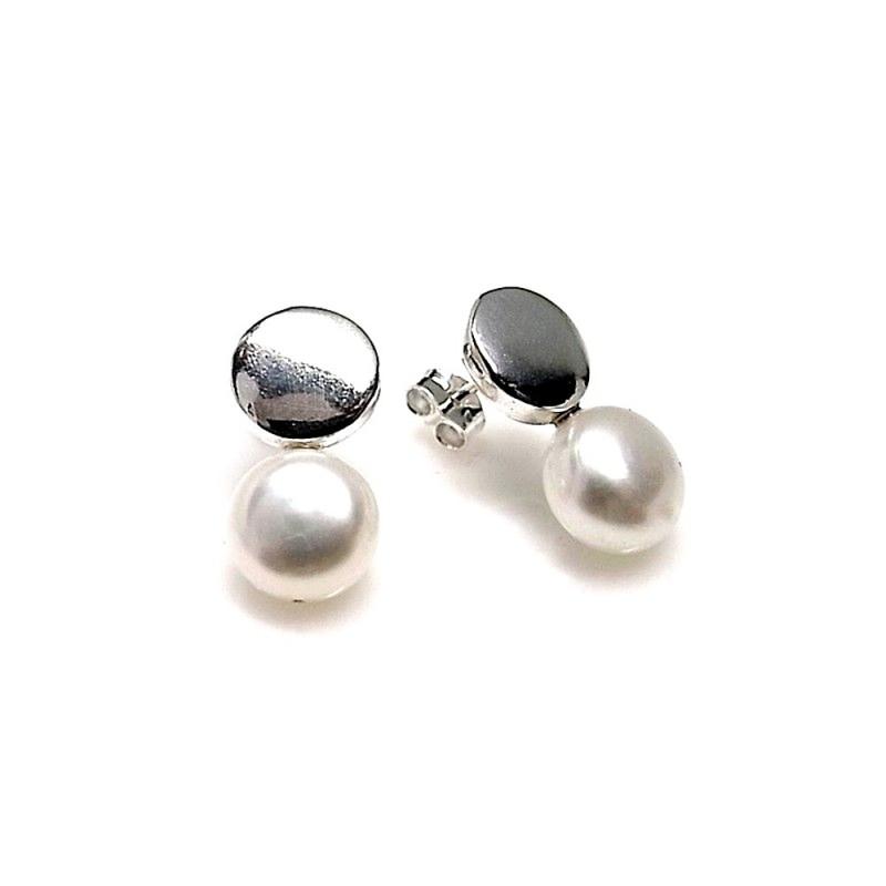 dbd59ee20116 Pendientes plata Ley 925m redondo perla botón  AB1328