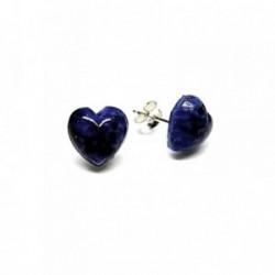 Pendientes plata Ley 925m corazón piedra azul [AB1343]
