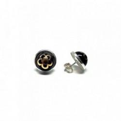 Pendientes plata Ley 925m bicolor flor media perla 10mm. [AB1347]