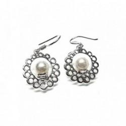 Pendientes plata Ley 925m largos perla redondos 35mm. [AB1357]