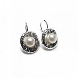 Pendientes plata Ley 925m perla botón [AB1374]