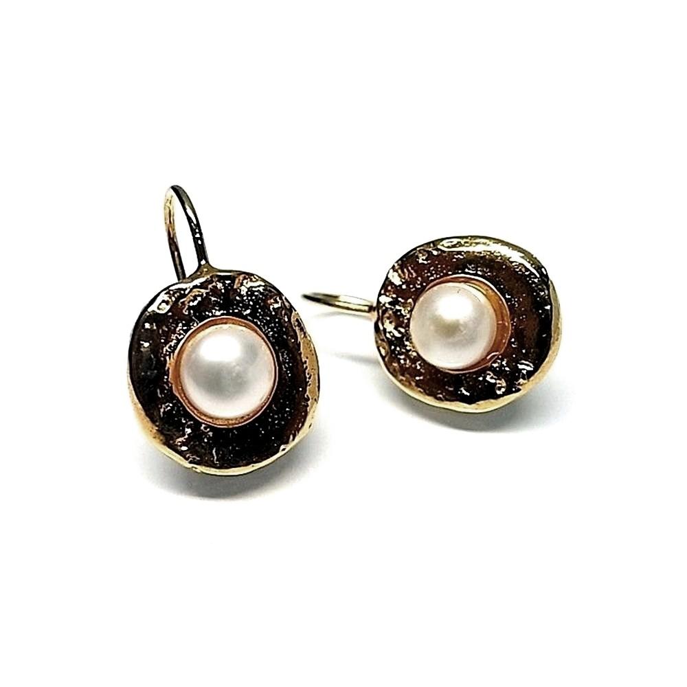5d73c2b1c224 Pendientes plata Ley 925m chapado oro perla botón  AB1375