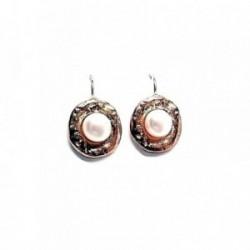 Pendientes plata Ley 925m chapado rosa perla botón [AB1376]