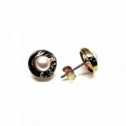 Pendientes plata Ley 925m chapado oro perla botón [AB1380]