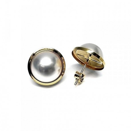 2c099d6c7ece Pendientes plata Ley 925m media perla filo chapado oro  AB1406
