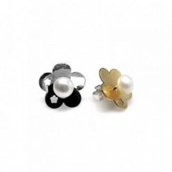 Pendientes plata Ley 925m chapita flor estrellas perla botón [AB1422]