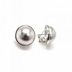 Pendientes plata Ley 925m media perla bocel 18mm. cierre omega mujer