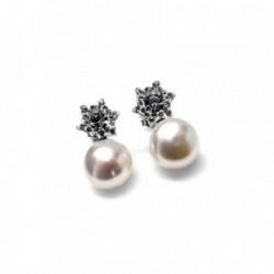 Pendientes plata Ley 925m perla estrella chatón [AB1478]