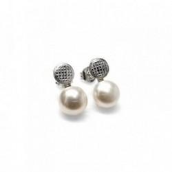 Pendientes plata Ley 925m redondo perla [AB1479]
