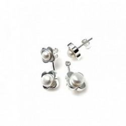 Pendientes plata Ley 925m desmontables ear jacket flor perla botón cierre presión
