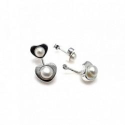Pendientes plata Ley 925m desmontables ear jacket corazones perla botón cierre presión