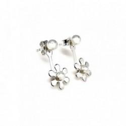 Pendientes plata Ley 925m ear jacket flor perla botón [AB1515]