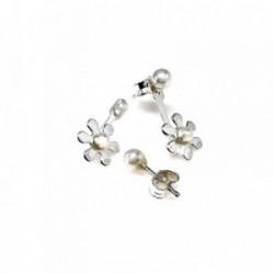 Pendientes plata Ley 925m desmontable ear jacket flor centro perla botón cierre presión