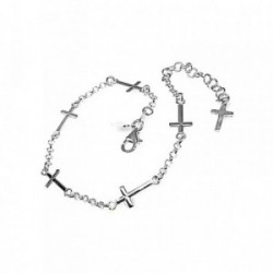 Pulsera plata Ley 925m 20cm. cadena rolo cruces [AB1539]