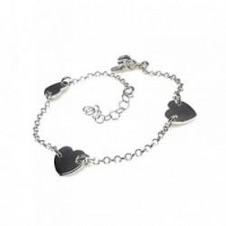 Pulsera plata Ley 925m 17cm. cadena rolo corazones [AB1573]