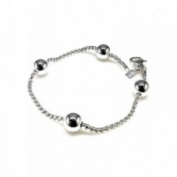 Pulsera plata Ley 925m cadena coreana 18cm. bolas lisas [AB1574]