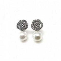 Pendientes plata Ley 925m flor circonitas perla [AB1646]