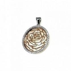Colgante plata Ley 925m rosa calada chapada rosa circonitas [AB1657]