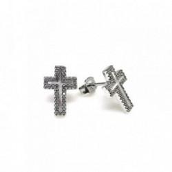 Pendientes plata Ley 925m cruz nácar circonitas [AB1676]
