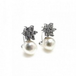 Pendientes plata Ley 925m estrella circonita perla [AB1685]