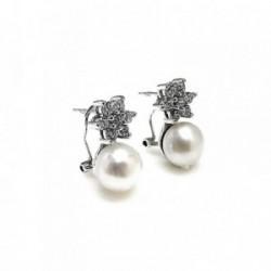 Pendientes plata Ley 925m estrella circonita perla [AB1686]