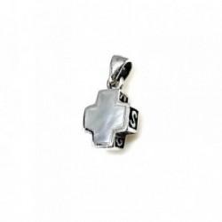 Cruz plata Ley 925m doble cara calada nácar 10mm. [AB1712]