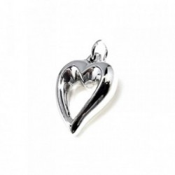 Colgante plata Ley 925m corazón liso 20mm. [AB1729]