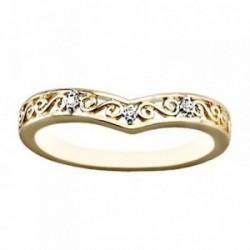 Sortija oro 18k bicolor diamantes brillantes 0.0255ct [AA7004]